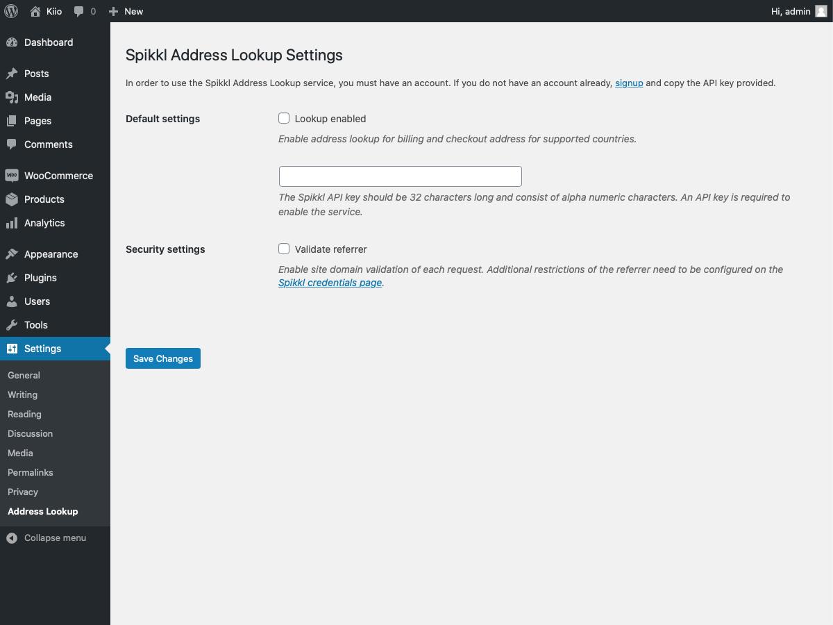 Screenshot Spikkl Woocommerce plugin